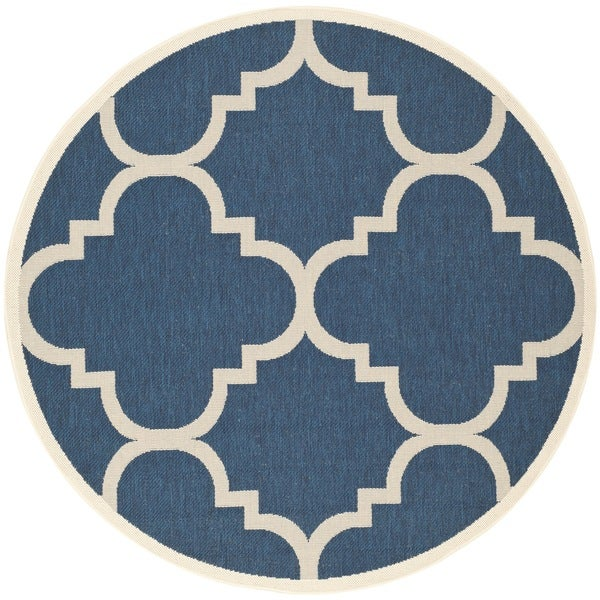 Safavieh Courtyard Quatrefoil Navy/ Beige Indoor/ Outdoor Rug (6'7 Round)