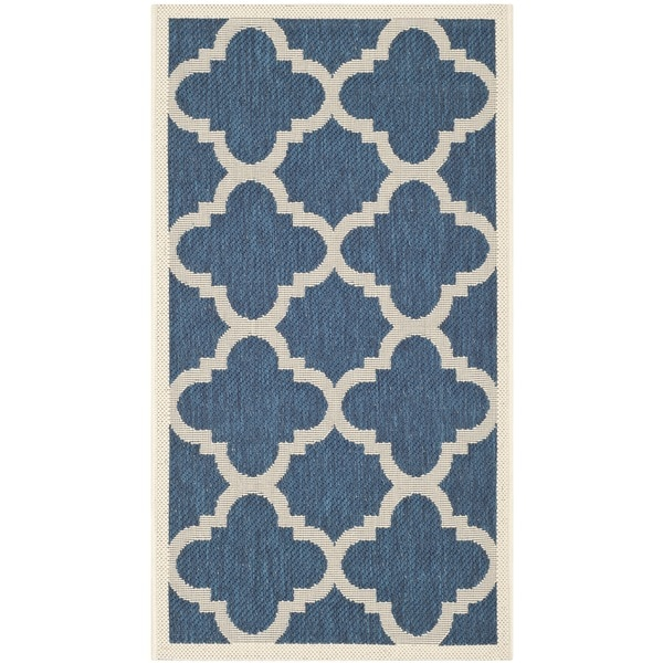 Safavieh Courtyard Quatrefoil Navy/ Beige Indoor/ Outdoor Rug - 2' x 3'7
