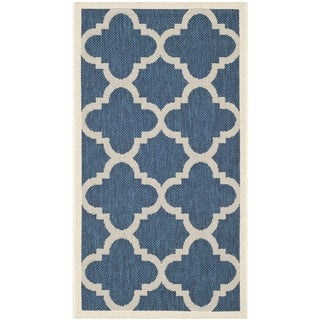 Dhurrie-Style Safavieh Indoor/Outdoor Courtyard Navy/Beige Rug (2' x 3'7)