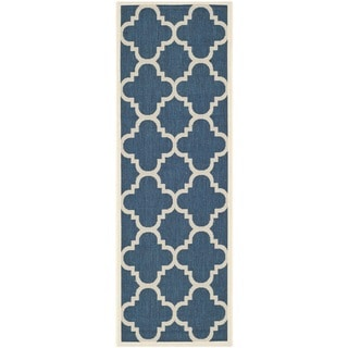 Contemporary Safavieh Indoor/Outdoor Courtyard Navy/Beige Rug (2'3 x 10')