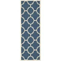 Safavieh Courtyard Quatrefoil Navy/ Beige Indoor/ Outdoor Rug - 2'3 x 10'