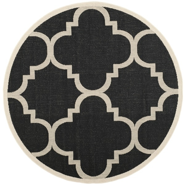 Safavieh indoor outdoor courtyard black beige rug 6 7 round free