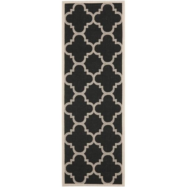 """Safavieh Indoor/Outdoor Courtyard Geometric Black/Beige Rug (2'4"""" x 12')"""