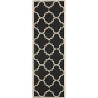 "Safavieh Courtyard Quatrefoil Black/ Beige Indoor/ Outdoor Runner Rug - 2'3"" x 10'"