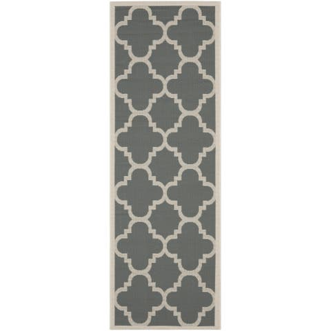 "Safavieh Courtyard Quatrefoil Grey/ Beige Indoor/ Outdoor Rug - 2'3"" x 14' Runner"