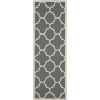 Safavieh Indoor/ Outdoor Courtyard Grey/ Beige Rug (2'4 x 12')