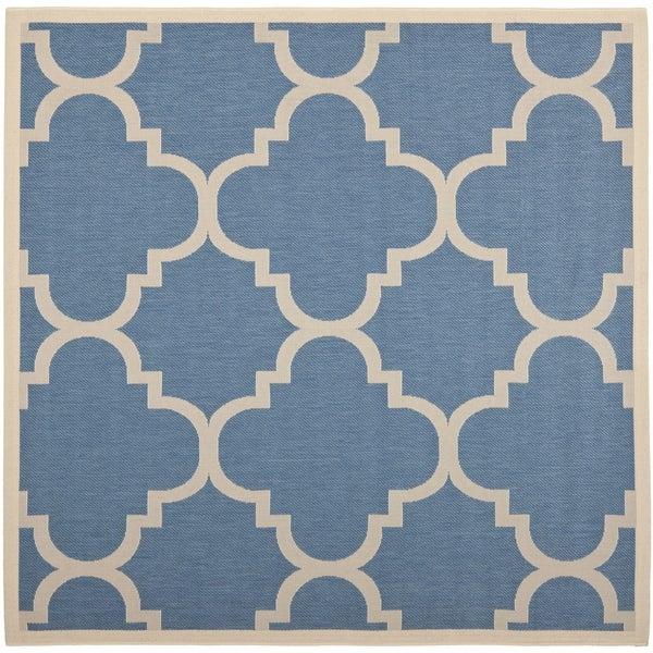 Nice Safavieh Courtyard Quatrefoil Blue/ Beige Indoor/ Outdoor Rug (7u002710 Square)