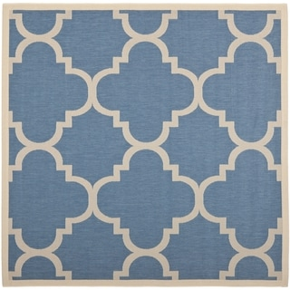 Safavieh Courtyard Quatrefoil Blue/ Beige Indoor/ Outdoor Rug (7'10 Square)