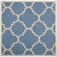 "Safavieh Courtyard Quatrefoil Blue/ Beige Indoor/ Outdoor Rug - 7'10"" x 7'10"" square"