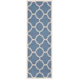 Safavieh Courtyard Quatrefoil Blue/ Beige Indoor/ Outdoor Rug (2'4 x 12')