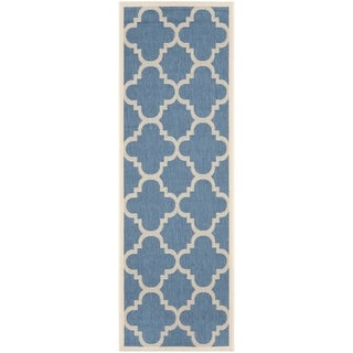 Safavieh Courtyard Quatrefoil Blue/ Beige Indoor/ Outdoor Rug (2'4 x 14')