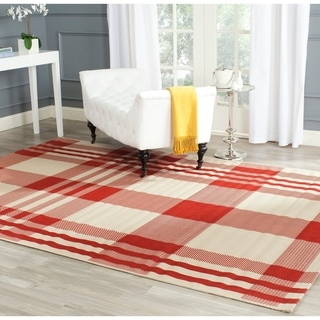 Safavieh Courtyard Plaid Red/ Bone Indoor/ Outdoor Rug (9' x 12')