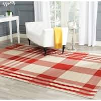 Safavieh Courtyard Plaid Red/ Bone Indoor/ Outdoor Rug - 9' x 12'