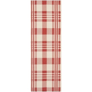 Safavieh Courtyard Plaid Red/ Bone Indoor/ Outdoor Rug - 2'3 x 12'