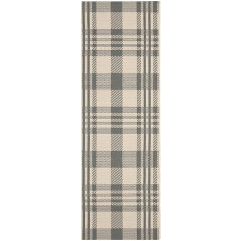 "Safavieh Courtyard Plaid Grey/ Bone Indoor/ Outdoor Rug - 2'3"" x 14' Runner"