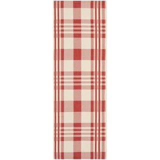 Safavieh Courtyard Plaid Red/ Bone Indoor/ Outdoor Rug (2'3 x 10')|https://ak1.ostkcdn.com/images/products/8059900/8059900/Safavieh-Indoor-Outdoor-Courtyard-Red-Bone-Rug-23-x-10-P15416564.jpg?impolicy=medium