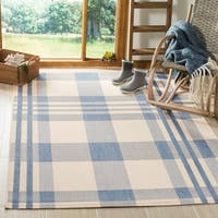 Safavieh Courtyard Plaid Beige/ Blue Indoor/ Outdoor Rug (9' x 12')
