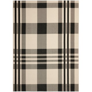 Safavieh Courtyard Plaid Black/ Bone Indoor/ Outdoor Rug (9' x 12')