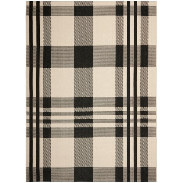 Safavieh Courtyard Plaid Black/ Bone Indoor/ Outdoor Rug (9' x 12') - 9' x 12'