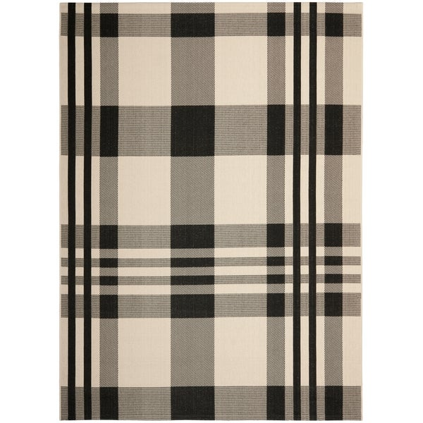 Shop Safavieh Courtyard Plaid Black Bone Indoor Outdoor