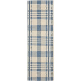 Safavieh Courtyard Plaid Beige/ Blue Indoor/ Outdoor Rug (2'3 x 10')