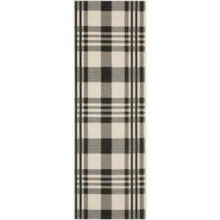 Safavieh Indoor/ Outdoor Courtyard Plaid Black/ Bone Rug (2'3 x 10')