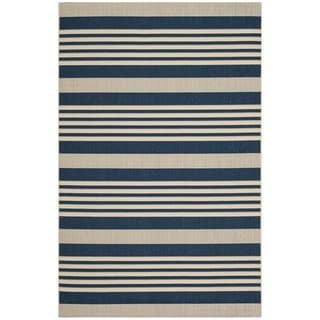 Safavieh Courtyard Stripe Navy/ Beige Indoor/ Outdoor Rug (8' x 11')