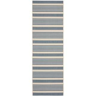 Safavieh Courtyard Stripe Beige/ Blue Indoor/ Outdoor Rug (2'3 x 8')