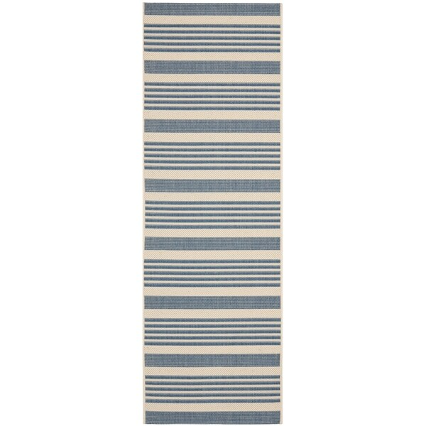 Safavieh Courtyard Stripe Beige/ Blue Indoor/ Outdoor Rug - 2'3 x 12'