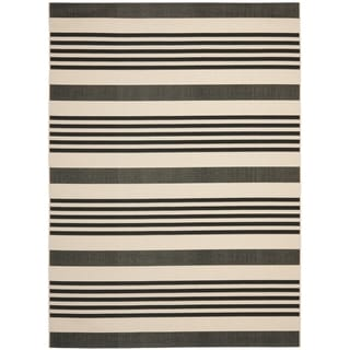 Safavieh Courtyard Stripe Black/ Bone Indoor/ Outdoor Rug (9' x 12')