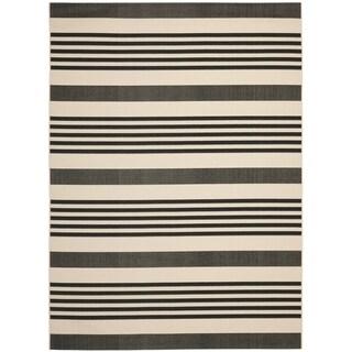 Safavieh Courtyard Stripe Black/ Bone Indoor/ Outdoor Rug (9' x 12')