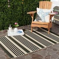 Safavieh Courtyard Stripe Black/ Bone Indoor/ Outdoor Rug - 9' x 12'
