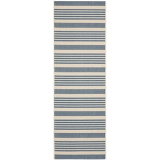 Safavieh Courtyard Stripe Beige/ Blue Indoor/ Outdoor Rug (2'3 x 10')