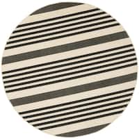 "Safavieh Courtyard Stripe Black/ Bone Indoor/ Outdoor Rug - 5'3"" x 5'3"" Round"