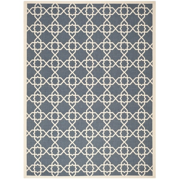 Safavieh Courtyard Geometric Trellis Navy/ Beige Indoor/ Outdoor Rug - 9' x 12'