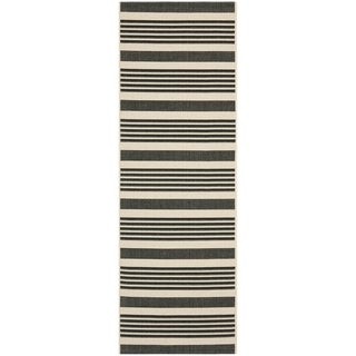 Safavieh Courtyard Stripe Black/ Bone Indoor/ Outdoor Rug (2'3 x 10')
