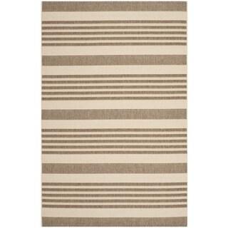 Safavieh Courtyard Stripe Brown/ Bone Indoor/ Outdoor Rug (6'7 x 9'6)