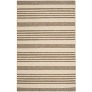 Safavieh Indoor/ Outdoor Courtyard Stripes Pattern Brown/ Bone Rug (8' x 11')