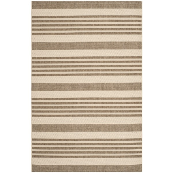 Safavieh Courtyard Stripe Brown/ Bone Indoor/ Outdoor Rug - 8' x 11'