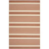 Safavieh Courtyard Stripe Terracotta/ Beige Indoor/ Outdoor Rug - 8' X 11'