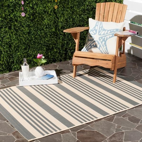 Chic Indoor Outdoor Stripe Rugs 6 Colors Available: Shop Safavieh Courtyard Stripe Grey/ Bone Indoor/ Outdoor