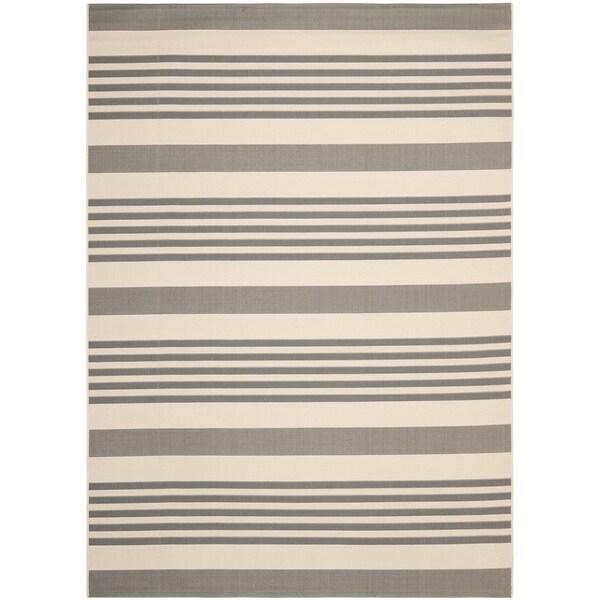 Safavieh Courtyard Stripe Grey/ Bone Indoor/ Outdoor Rug (9' x 12')