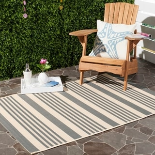 Safavieh Courtyard Stripe Grey/ Bone Indoor/ Outdoor Rug (9' x 12')