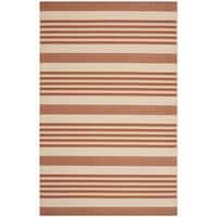 Safavieh Courtyard Stripe Terracotta/ Beige Indoor/ Outdoor Rug - 4' x 5'7