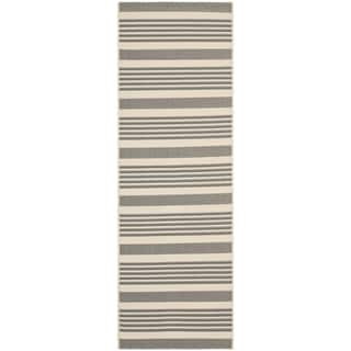 Safavieh Indoor/ Outdoor Courtyard Grey/ Bone Rug (2'3 x 14')