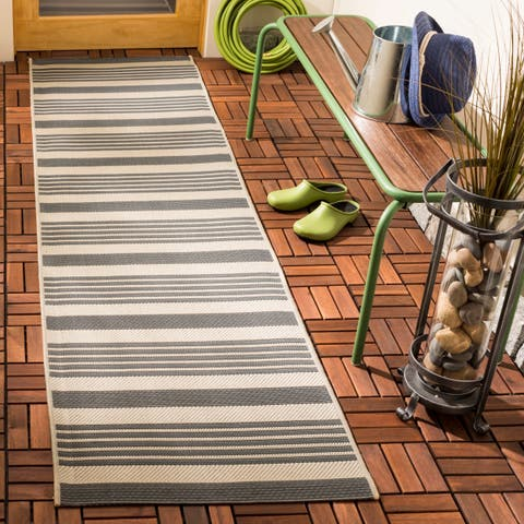 "Safavieh Courtyard Stripe Grey/ Bone Indoor/ Outdoor Rug - 2'3"" x 14' Runner"