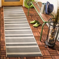 Safavieh Courtyard Stripe Grey/ Bone Indoor/ Outdoor Rug - 2'3 x 14'