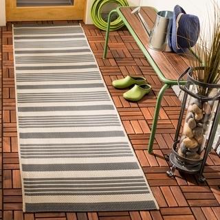 Safavieh Courtyard Stripe Grey/ Bone Indoor/ Outdoor Rug - Free ...