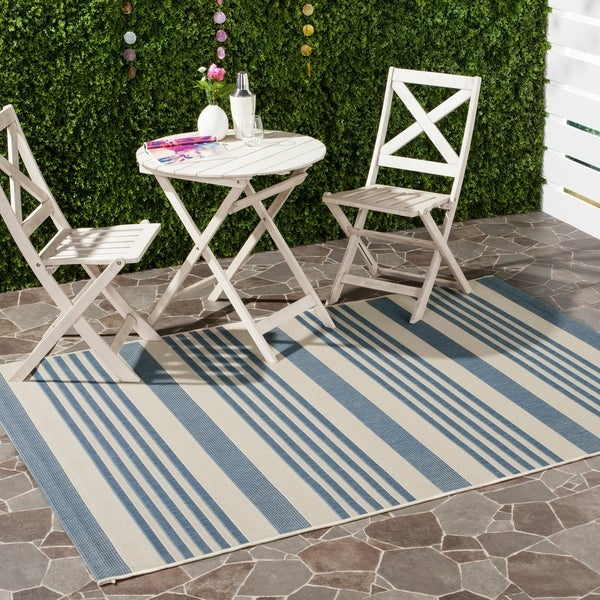 Safavieh Courtyard Stripe Beige/ Blue Indoor/ Outdoor Rug - 9' x 12'