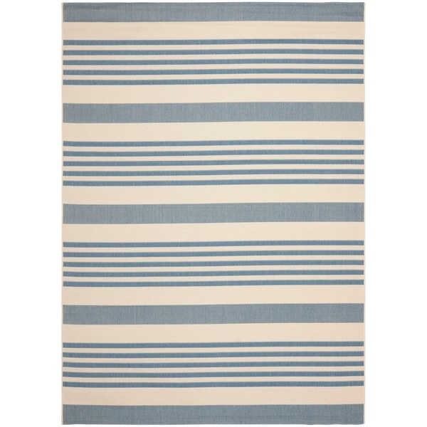 Blue Outdoor Rug 9x12: Safavieh Courtyard Stripe Beige/ Blue Indoor/ Outdoor Rug